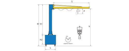 CIT Service - Gru: gru a bandiera a colonna con braccio in canalina e basamento paletizzato - CM1 BP