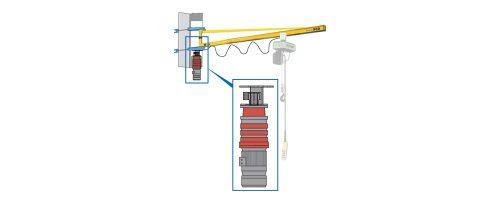 CIT Service - Gru: gru a bandiera a mensola con braccio in trave tirantata motorizzato a una velocità - CMM2 RE